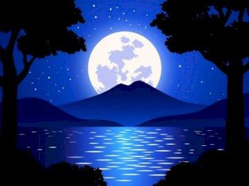 Nocny krajobraz - Jeśli lubisz nocne krajobrazy, naturalne krajobrazy i układanie puzzli, nie przegap tego pięknego