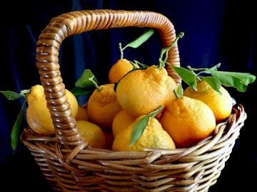 fruit basket - tangerines in a small basket. A basket filled with fruit.