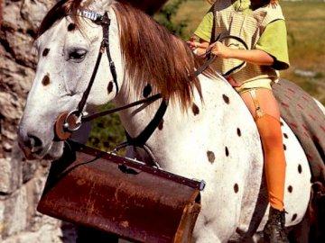 Pippi langstrumpf - Bohater lektury szkolnej. Mężczyzna na koniu.
