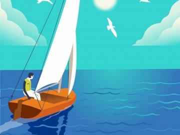 Jacht dla dzieci - Puzzle dla dzieci w transporcie wodnym: żaglówka.