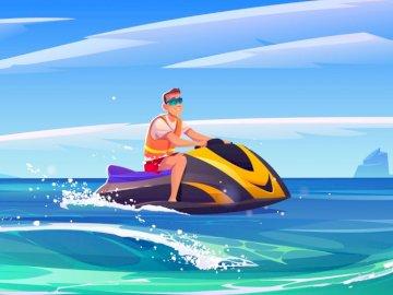 Skutery dziecięce - Środki transportu: skutery wodne. Błękitna i żółta łódź w wodzie.