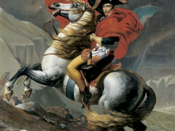 Napoleon Crossing the Alps (1801) - Napoleon Crossing the Alps by Jacques-Louis David between (1801). A person riding a horse.