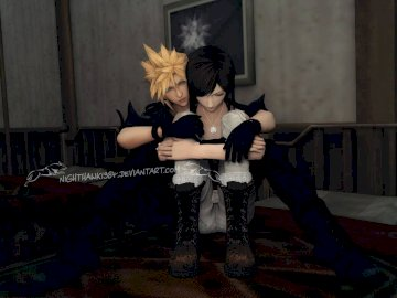 Final Fantasy - Tifa and Cloud perfect couple love. A woman standing in a room.