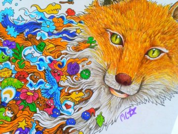 HOW FIREFOX - I PAINTED AND COLORED IT. A cat with its mouth open.