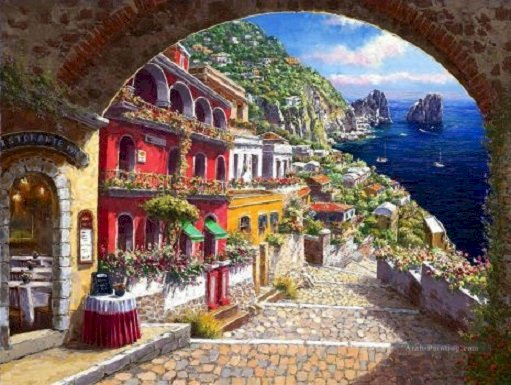 Island of Capri. - Puzzle: The Italian island of Capri. A view of a stone building.