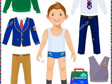 ubrania dla chłopca - ubrania wizytowe dla chłopca.  ułóż puzzle z ubraniami dla chłopca.  ubrania dla chłopaka