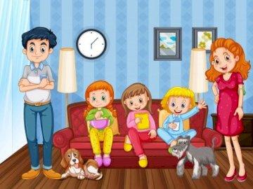 Dzień Rodziny - Ułóż puzzle przedstawiające usmiechnietą rodzinę. Zakończenie up faszerująca zabawka pozuje