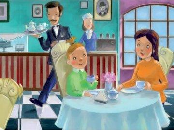 Czekolada - Czesia i czekolada. Litera cz. Mała dziewczynka siedzi przy stole.