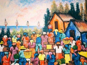 puzzle plemion - Afrykańskie plemię 4-częściowe puzzle. Grupa ludzi pozujących do kamery.
