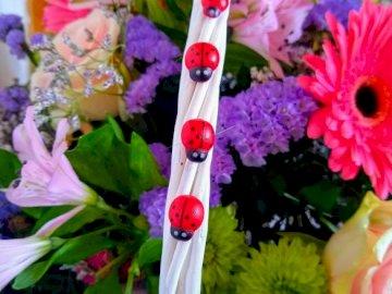 Marienkäfer - Vier kleine Marienkäfer und ein Blumenkorb. Eine Vase mit rosa Blumen gefüllt.