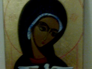 Holy Spirit - icon depicting a pneumatophore. A person standing in front of a mirror posing for the camera.