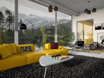 Interior design - Soggiorno, interior design. Un soggiorno con un divano e una sedia.