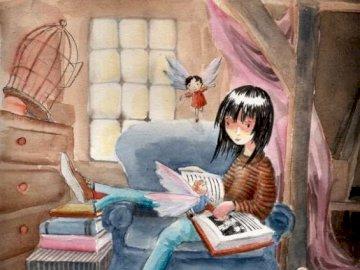 Biblioterapia9 - Obraz z książką w tytule. Dziecko siedzi w pokoju.