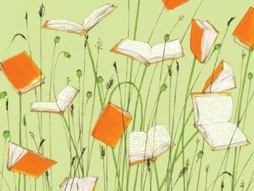 Biblioterapia11 - Obraz z książką w tytule. Zbliżenie logo.