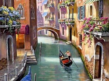 Canal de Venecia - Canal de Venecia con gondolero. Łódź zaparkowana z boku budynku.