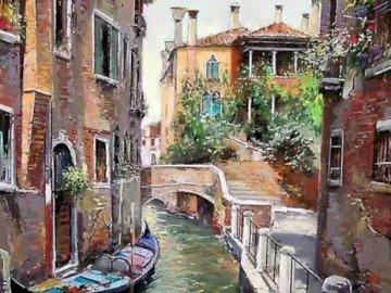 Canal Veneciano - Canal veneciano con gondolero. Grupa ludzi idących ulicą obok ceglanego budynku.