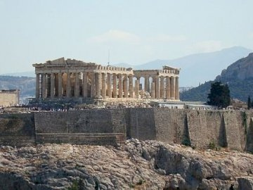 Picture - Acropolis - Arrange the puzzles and move to a beautiful place - the Acropolis. A large stone building with a mou