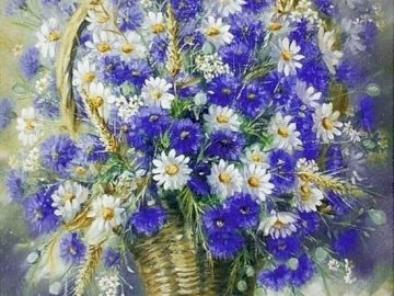 Chamomile and cornflowers. - Puzzle: chamomile and cornflowers. A vase filled with purple flowers.
