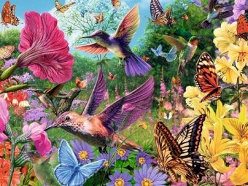 A garden full of hummingbirds. - Painting: a garden full of hummingbirds. A group of colorful flowers.