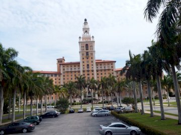 HOTEL IN CORAL GABLES - OLD HOTEL IN MIAMI. A view of Miami Biltmore Hotel street lined with palm trees.