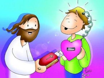 Conectats - Gesù e il telefono ... connessi. Un disegno di un personaggio dei cartoni animati.