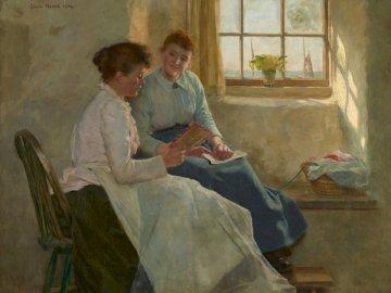 The Valentine, 1894 di Edwin - Uomo in camicia blu che si siede accanto alla donna in vestito blu. Birmingham, Regno Unito. Un uomo