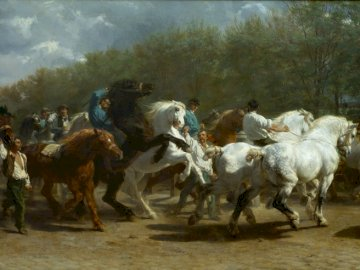 The Horse Fair (1852) - The Horse Fair by Rosa Bonheur (1852). A herd of cattle standing on top of a horse.