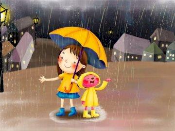 ja i spacerowanie - przyjaciele spacerujący w deszczowy dzień.
