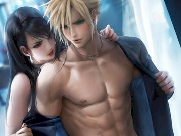 Final Fantasy - Tifa and Cloud perfect couple love. A person looking at the camera.
