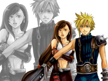 Final Fantasy - Tifa and Cloud perfect couple love. A group of people posing for the camera.