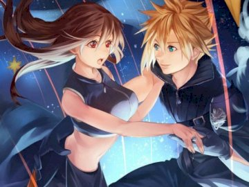Final Fantasy - Tifa and Cloud perfect couple love. A person holding an umbrella.