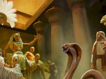Cobrafarao - Moses snake and Aaron eat Pharaoh snakes. A man wearing a costume.