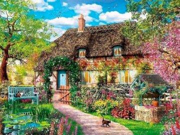 Casa con giardino. - Puzzle. Paesaggio. Cottage con giardino in campagna. Un albero di fronte a un edificio.