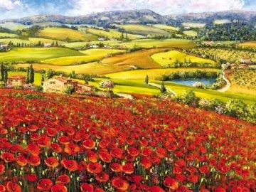 Paisaje italiano - Pintura. Paisaje italiano Amapolas rojas. Una flor amarilla en un campo.