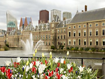 I LOVE The Hague (Netherlands) - It is a landscape of a beautiful city in the Netherlands. A group of people in front of a building.