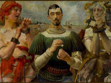 Hameau polonais - Jacek Malczewski. Une référence claire au travail de William Shakespeare souligne en outre la pré