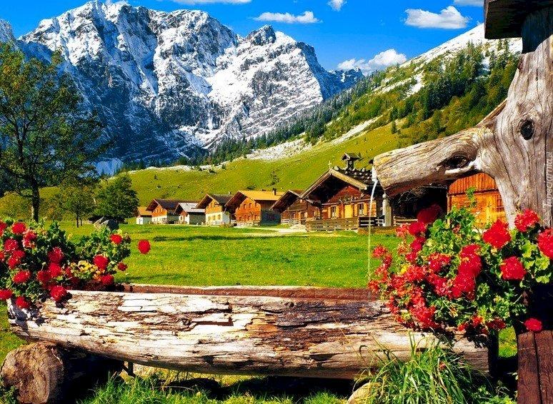 Cabañas En Las Montañas - Casas rurales en las montañas, Kłoda con flores. Un grupo de personas en un campo con una montaña