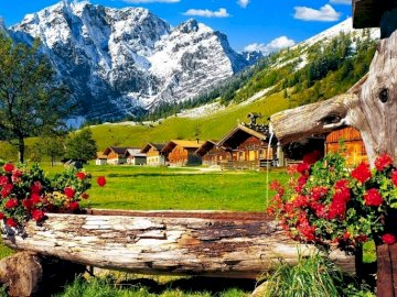 Cottages In The Mountains - Cottages In the Mountains, Kłoda with Flowers. A group of people in a field with a mountain in the