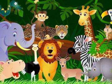 Jungle Animals - elephant, snake, jaguar, lion, ostrich, hippo, zebra, monkey, gazelle, zebra, monkey, rhino, squirre
