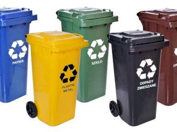 segregacja śmiecie - kosze - Puzzle przedstawiają kosze na śmieci do degregacji odpadów.