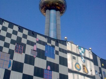 Vienna waste incineration plant - Waste incineration plant in Spittelau, Hundertwasser. The tower of the city.