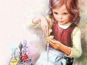 Martynka 4 - Un eroe della letteratura per bambini. Una bambina seduta a un tavolo.