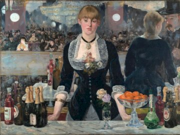 A Bar at the Folies-Bergère (1881) - A Bar at the Folies-Bergère by Edouard Manet (1881). A person standing in front of a store.