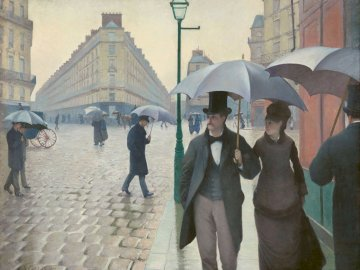 Paris Street, Rainy Day (1877) - Paris Street, Rainy Day by Gustave Caillebotte (1877). A group of people walking in the rain holding