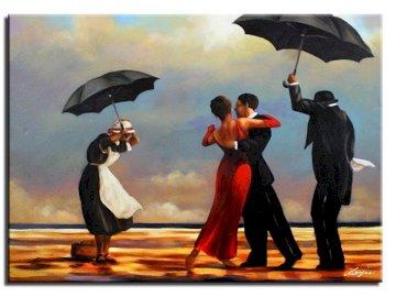 Zatrzymana chwila - Jack Vettriano, zatrzymana chwila. Grupa ludzi stojących w deszczu z parasolem.