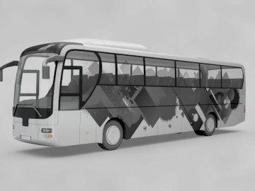 Ônibus.1 - Quebra-cabeça fácil ônibus. Um ônibus estacionado na beira de uma estrada.