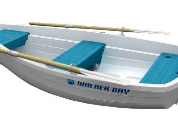 Barco pequeno - Bote, branco e azul. Um close-up de um barco.