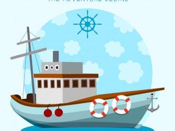 Navio de marinheiro. - Barco para trabalhar os meios de transporte com os mais pequenos.