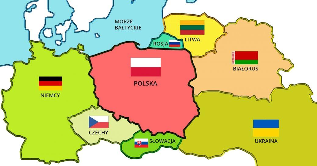 Polska i jej sąsiedzi - Sąsiedzi Polski. Ułóż mapę Polski i jej sąsiadów. Zbliżenie mapy. Puzzle dla dzieci z wyróżnionymi sąsiadami Polski. Zbliżenie mapy (5×5)