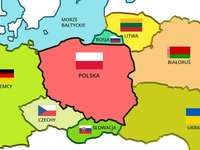 Poland and its neighbors - Polish neighbors. Arrange a map of Poland and its neighbors. A close up of a map. Puzzle for childre
